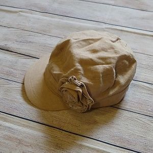 Tan Cap with Flower